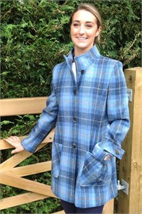 Ladies Tweed Funnel Neck Coat, Sky
