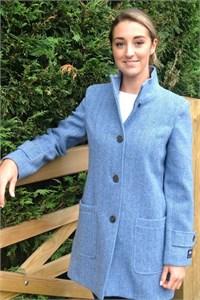 Ladies Herringbone Wool Funnel Neck Coat, Sky