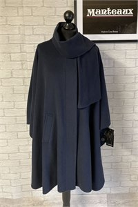 Ladies Wool and Cashmere Cape, Navy