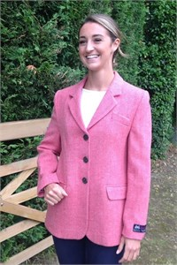 Ladies Herringbone Wool Jacket, Salmon Pink