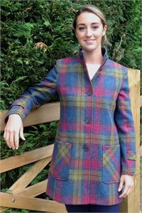 Ladies Tweed Funnel Neck Coat, Heather