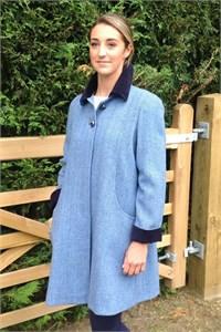 Ladies Herringbone Wool Swing Coat, Sky