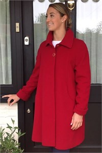 Ladies Wool and Cashmere Swing Coat, Red