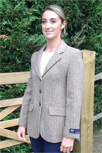 Ladies Herringbone Wool Jacket, Sand