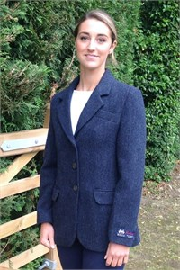 Ladies Herringbone Wool Jacket, Navy