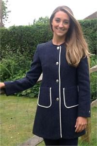 Ladies Classic Round Neck Wool Dress Coat, Navy