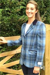 Ladies Tweed Jacket, Sky Check