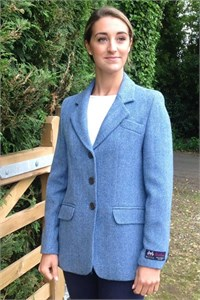 Ladies Herringbone Wool Jacket, Sky