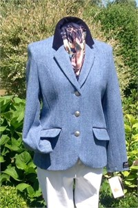 Ladies Herringbone Wool Cropped Jacket, Sky