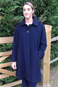 Ladies Wool and Cashmere Swing Coat, Navy